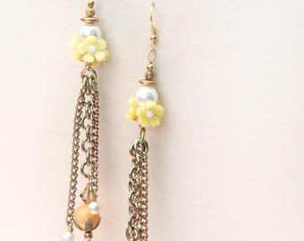 Vintage Assemblage Earrings. Mod. Flower and Bead Chain Dangle Earrings Orange, Pearl, Yellow  OAK