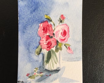 Flowers ORIGINAL Miniature Watercolour Floral Vase flowers painting flower art ACEO Watercolor For him For her Home Decor Wall Art Gift Idea