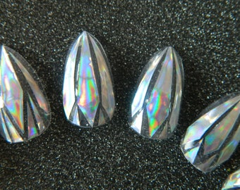Clear / Holographic Stiletto False Nails