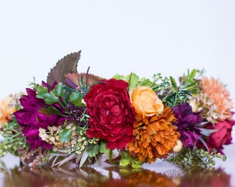 Fall Flower Crown - Country Rustic Halo - Flowergirl hairpiece - Autumn Wedding - Photo Prop - Wedding Crown - Floral Hairpiece