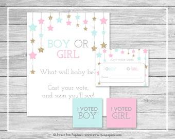 Twinkle Little Star Gender Reveal Voting Game - Printable Gender Reveal Vote Cards - Gender Reveal Voting Station - Pink Aqua Gold - SP139