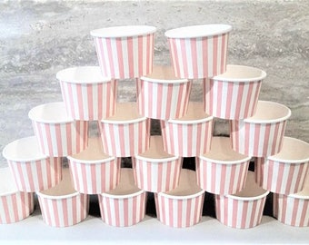 50 Pink striped 8oz paper cups/bowls - 200ml ice-cream/gelato/dessert cups - pink baby shower/birthday/wedding snack/treat party cups