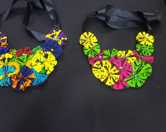 Ankara Flower Bib Necklace