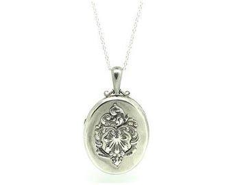 Antique Silver Locket | Victorian Locket | 1859 Locket | Large Locket | Ornate Locket | Silver Locket | Locket Necklace | Ornate Locket