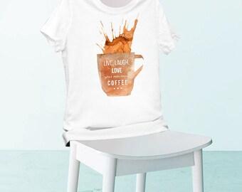Printed t-shirt, white t-shirt, women's t-shirt, men's t-shirt, cotton t-shirt, coffee t-shirt, printed tee, white tee, cotton tee, funny