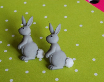 Easter Bunny Earrings -- Bunny Rabbit Studs, Grey Rabbit, Rabbit Earrings