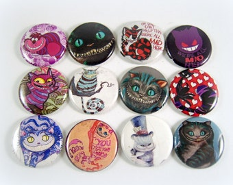 """1"""" Inch Cheshire Cat Flatback Buttons, Pins, Magnets 12 Ct."""