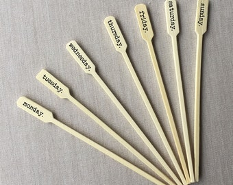 Personalized Bamboo Drink Stirrers, Coffee Stirrers or Cupcake Picks - Custom Text or Graphic - FREE U. S. SHIPPING