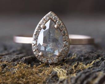Custom Natural Rose-Cut Silver-Grey  Diamond Engagement Ring