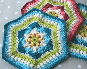 Crochet Pattern - Shells and Clusters Hexagon - PDF