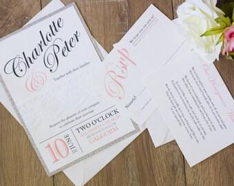 Handmade Wedding Invitation, Rustic invitation, lace wedding invitation, Vintage Glam, glitter invitation