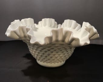 "Hobnail Milk Glass 9"" Round Lacy Bowl"