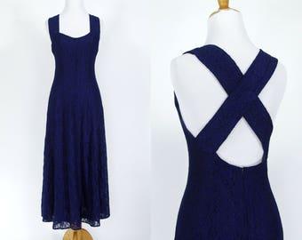 Vintage 1990s Dress | 90s Blue Lace Dress with Strappy Cross Back | Medium M
