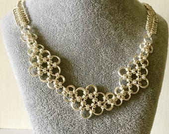 Silver Chainmaille, Japanese Flower Chain Maille Necklace