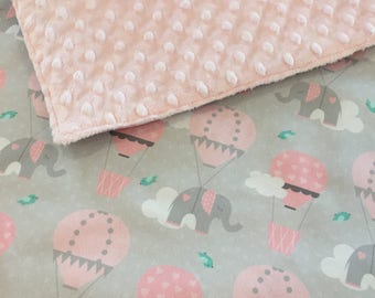 Elephants Baby Blanket - Grey Pink - Elephants Clouds and Hot Air Balloons Nursery Decor - Baby Gift - Baby Girl Quilt Cot Bedding Playmat