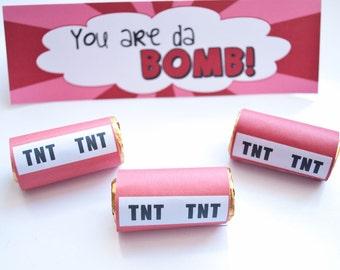 Printable You are da BOMB Valentine Treat Bag Kit - Immediate Download