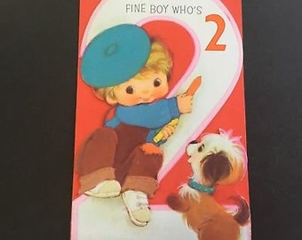 Vintage child's birthday greeting card, 2 yr old boy & puppy, American Greetings