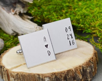 Custom Initial and Date Cuff Links - Hand Stamped Groom Gift
