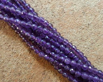 """Natural Grade A Amethyst 3mm Faceted Round Beads - 16"""" Strand"""