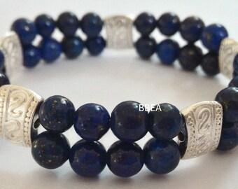 Bracelet double lapis lazuli, migraines, 6mm beads and Tibetan silver separations stone