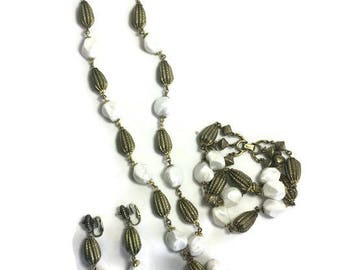 Signed Trifari Jewelry Set, Gold Tone and Baroque Pearl Bead Jewelry, Necklace Bracelet & Clip Earrings, Full Parure, Costume Jewelry