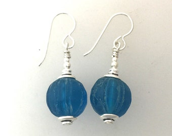 Blue Antique Glass Trade Bead Earrings