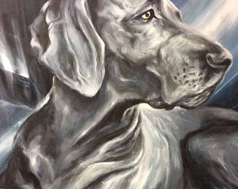 Individual, hand-painted dog portrait by photo in acrylic on canvas