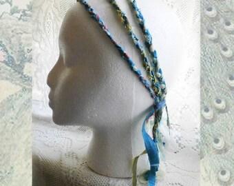 3 Strand Braided Boho Headband, Peacock Blues and Greens, Upcycled Fabrics