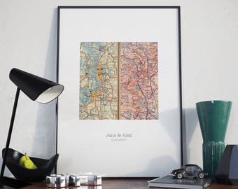 Personalized Map Gift, Custom Wedding Gift, for Couples, Map Art Engagement Print, Two Worldwide Locations, Custom Map Print