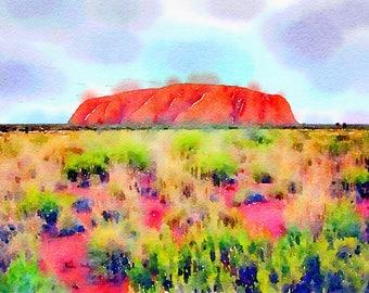 Watercolor Print - Uluru - Australia