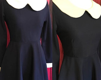 Navy blue skater dress with Peter Pan collar, vintage mod dress 1960s 70s stretchy short dress, size 4, fit and flare dress, fit n flare