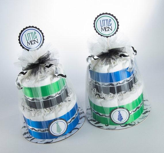 Twin Diaper Cakes - Twin Diaper Cake Set - Little Men Diaper Cakes - Little Men Baby Shower - Twin Baby Shower Decor - Mustache & Tie Theme