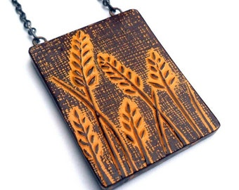 Mustard Yellow Wheat Necklace, Botanical Necklace, Rustic Wheat Plant Pendant, Meadow Pendant, Gift for Mom, Wife Gift, Girlfriend Gift
