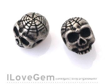 NP-1361 Silver Burnish over Brass, Skull, Beads, 2pcs