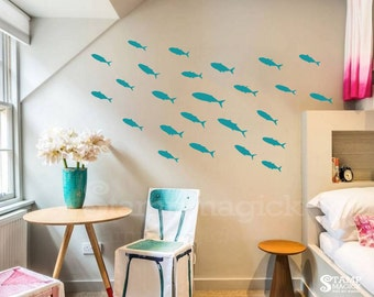 Fish Wall Decal - 25 Little Fish Decal - K258