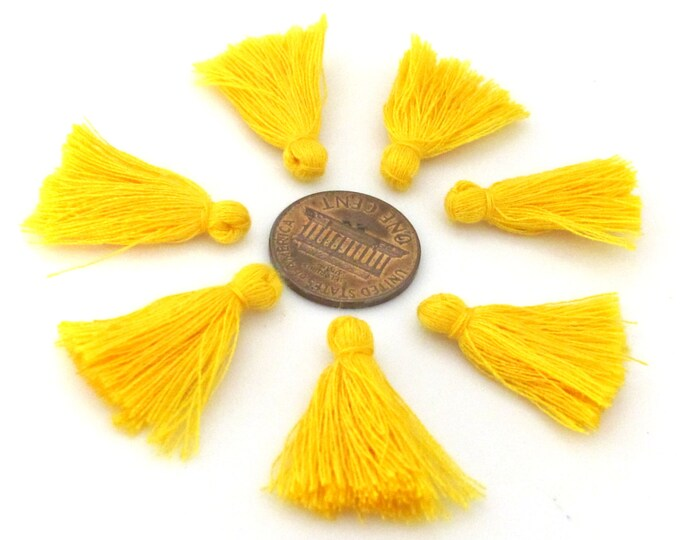 10 Pieces  - Small mini size saffron yellow color silky tassel charms tassle fringe craft mala supply 1 inch - TS009s