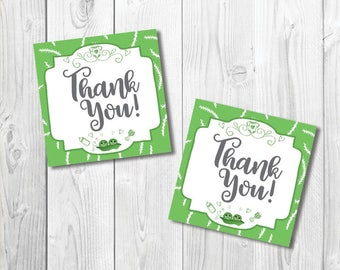 """Printable Thank You Tags, Peas in a Pod Baby Shower,Twins, Sweet Pea, Gender Neutral Shower, 2.25"""" x 2.25"""", Favor Tags, Instant Download JPG"""