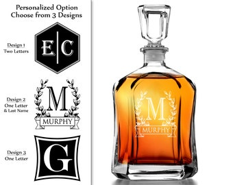 One Personalized 23.75 Oz Monogram Decanter Custom Engraved Whiskey Decanter Liquor groomsmen gift housewarming gift for him husband man dad