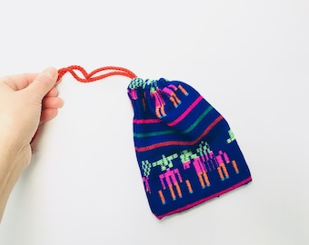 Mexican Favor Bag, Blue Fabric Loot Bag, Wedding Party Favor, Birthday Fiesta Decor, Aztec Party Decoration, Jewelry Drawstring Pouch