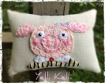 Pretty Little Pig Freehand Embroidered Pillow YelliKelli  Ready to Ship