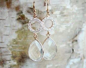 Rose Gold Wedding Earrings Bridal Earrings Rose Gold Earrings Bridal Jewelry Wedding Jewelry Crystal Earrings Bridesmaid Gift for Her