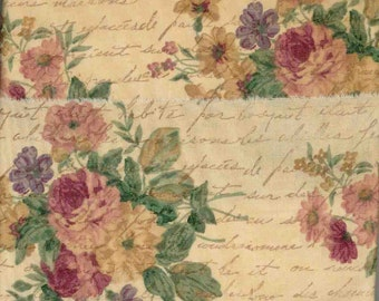 """handmade trim 8 yards .goldenrod purple 4 """" wide rose pink floral tea dyed hand made gift vintage fabric ribbon  hand stamped 338 oohlala"""