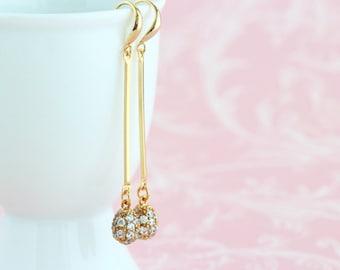 Long Gold Dangle Earrings - Wedding Earrings - Bridesmaids Earrings - Sophisticated Earrings - Feminine Earrings - Crystal Earrings