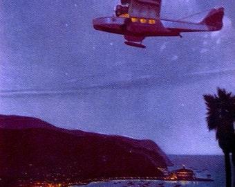 MOONLIGHT OVER AVALON Art Deco Island Travel, Great Gatsby, Jazz Age, Douglas Dolphin Flying Boat over Catalina Island - California
