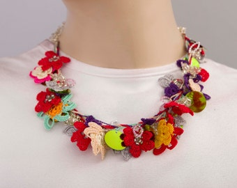 CLEARANCESALE - Bip necklace,Crochet bead work necklace
