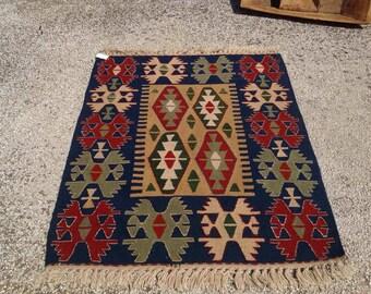 "Small kilim rug, Entrance rug, Vintage Turkish rug, pastel kilim rug, kelim, vintage rug, bohemian rug, bedroom rug, small rug,45"" x 36"",056"