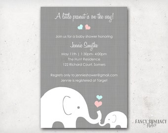 Elephant Baby Shower Invitation, Little Peanut Elephant  Pink and Blue Hearts, Gender Neutral Design, Printable Invitation, Item #10205