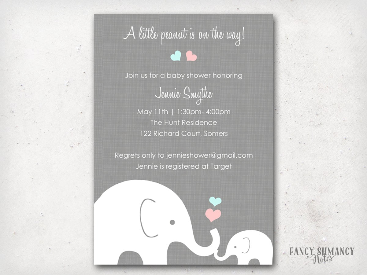 Elephant Baby Shower Invitation Little Peanut Elephant Pink