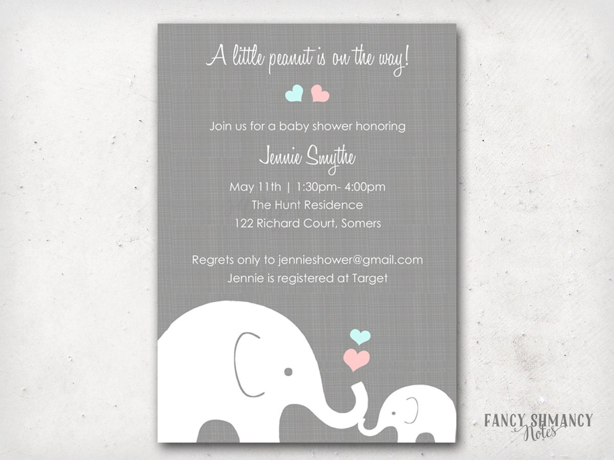 Elephant baby shower invitation little peanut elephant pink zoom filmwisefo Images
