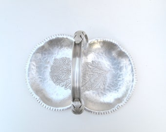 Hammered Aluminum Dish, Tray, Candy Dish, Hand Wrought #539, Chrysanthemum Pattern, Handled
